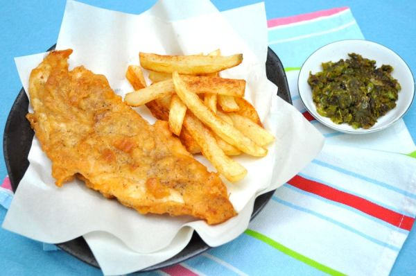 Beer battered fish chips and mushy peas for Beer batter fish and chips
