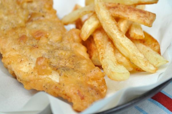 Beer-Battered Fish & Chips and Mushy Peas |